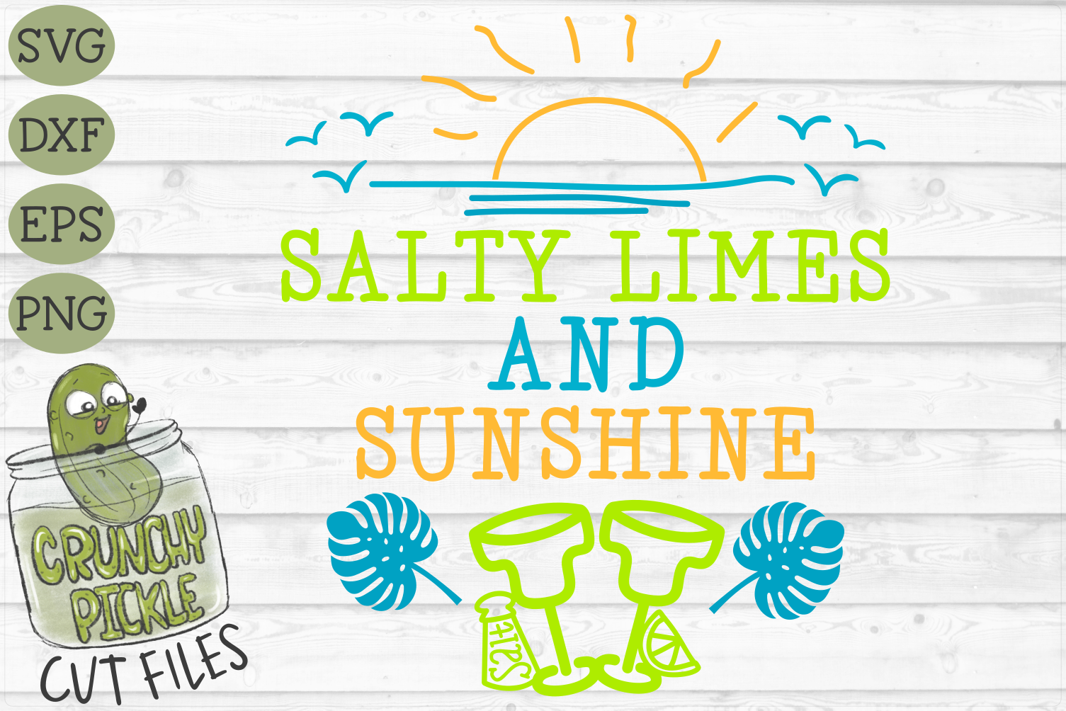 Salty Limes and Sunshine Summer Beach SVG example image 2