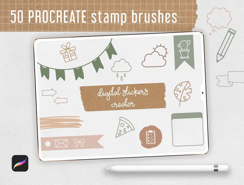 Procreate Stamp Brushes Bundle - 122 elements   Botanical example image 4