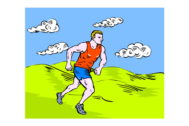 marathon runner running race sketch style example image 1