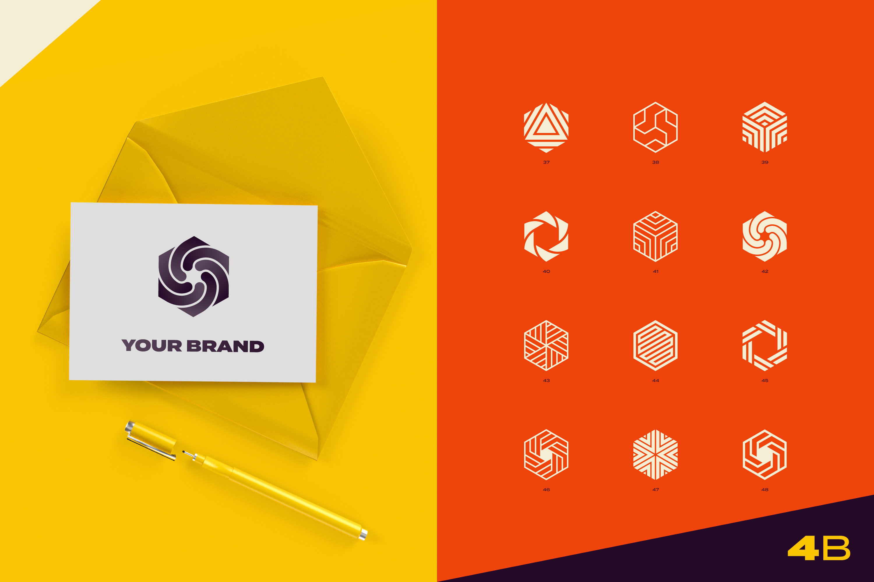96 Abstract logo marks & geometric shapes collection example image 13