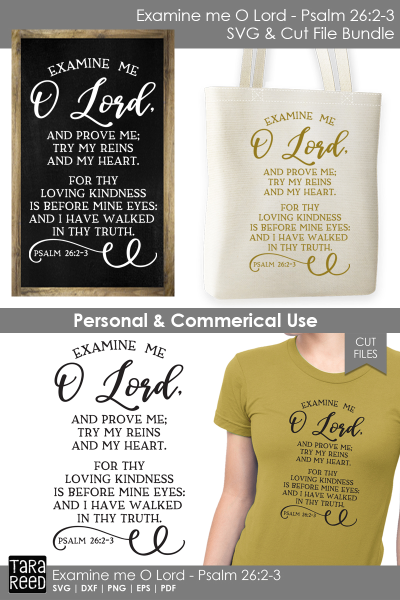 Examine me O Lord - Bible Verse SVG and Cut Files example image 2