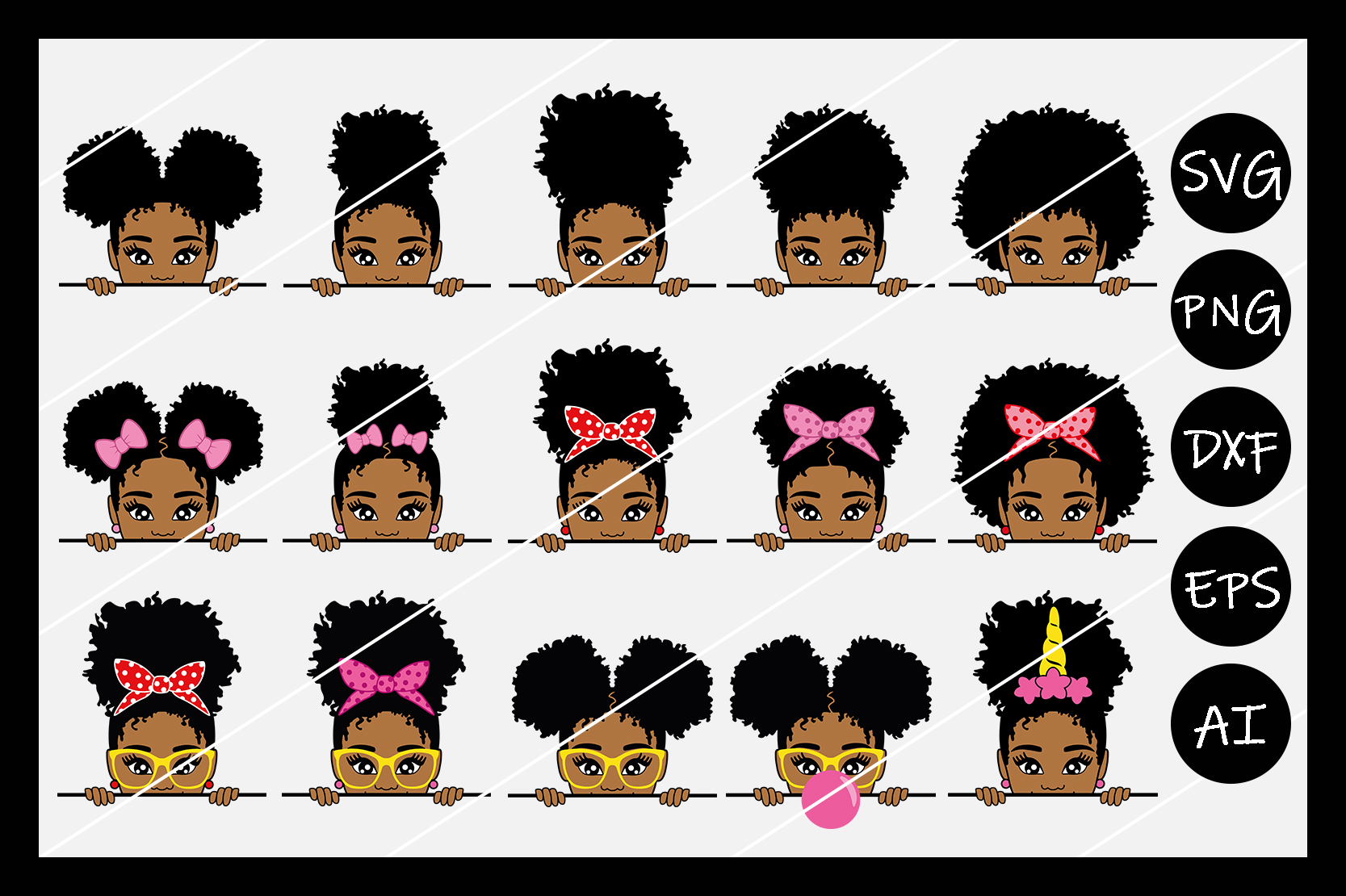 BUNDLE, African American Afro Girl SVG Silhouette Cameo, Cut example image 1