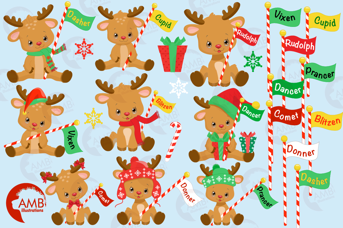 All of Santa's Reindeer clipart, graphics, illustrations AMB-2291 example image 5