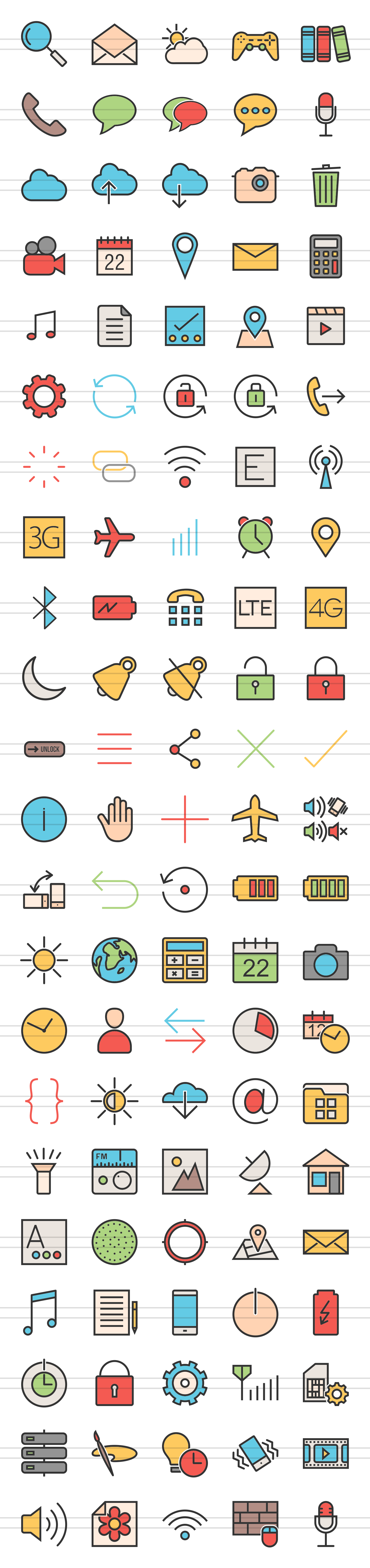 110 Mobile Interface Filled Line Icons example image 2