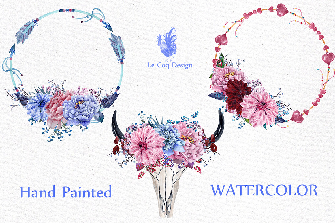 Watercolor tribal clipart example image 2