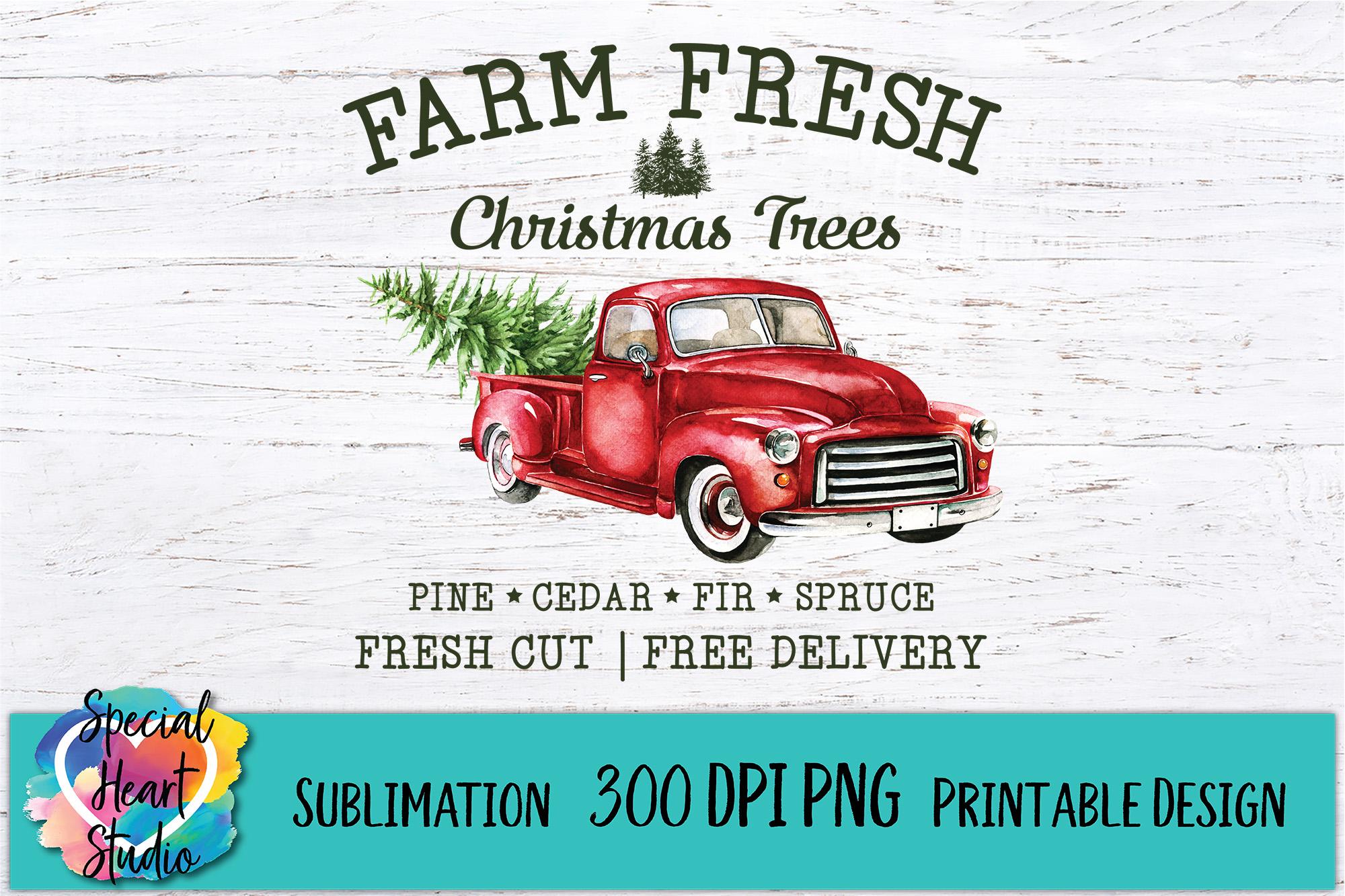 Christmas Sublimation Printable - Farm Fresh Christmas Trees example image 2