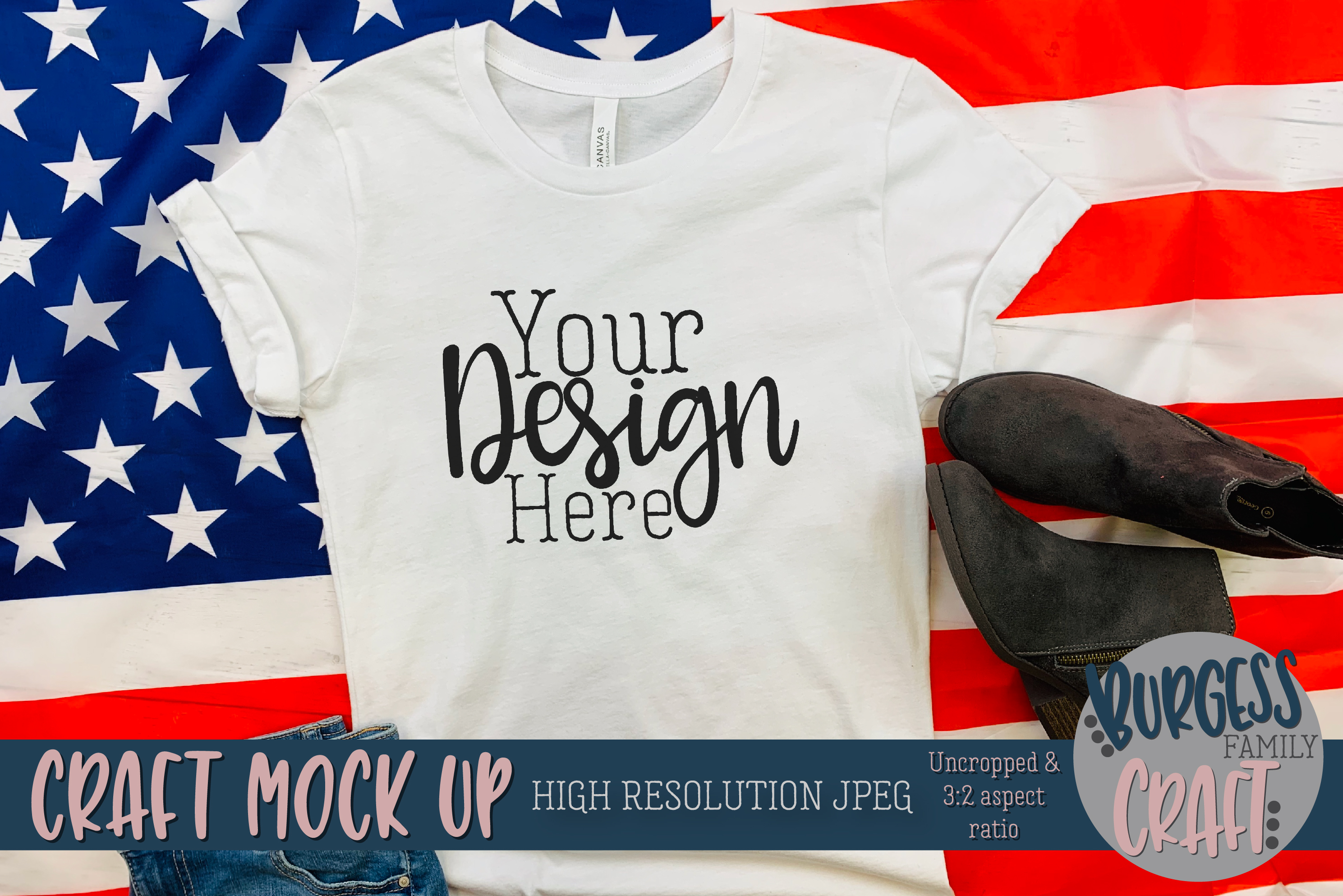 Patriotic USA styled shirt Craft mock up | High Res JPG example image 1