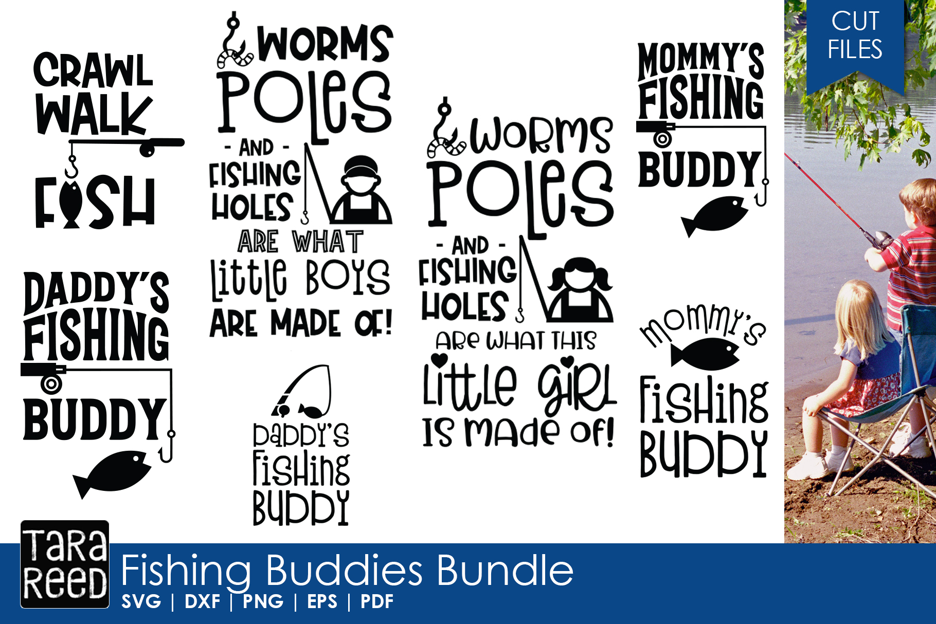 Fishing Buddies - Fishing SVG and Cut Files for Crafters example image 1