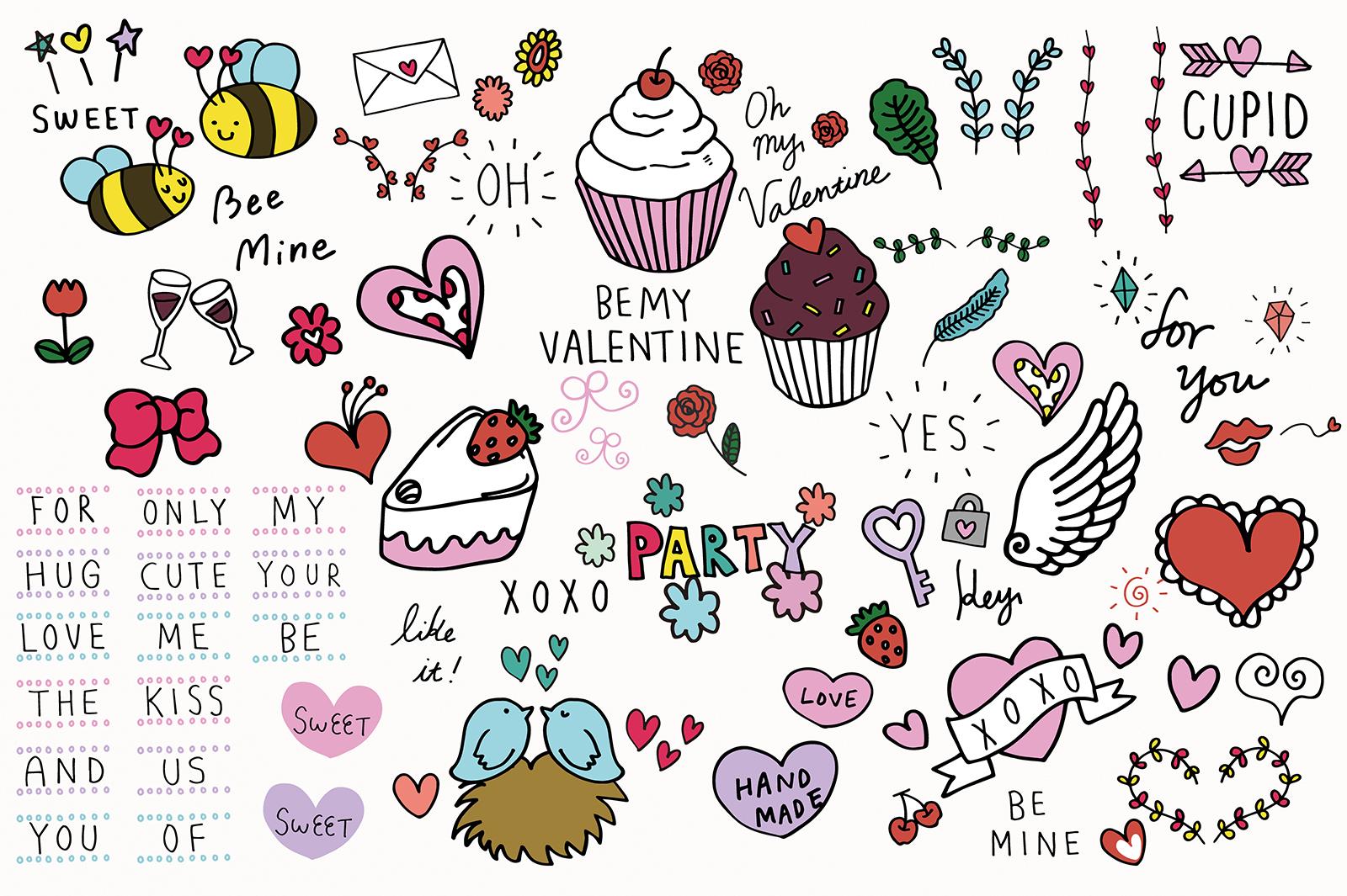 Doodled Illustration 01 Valentines example image 1