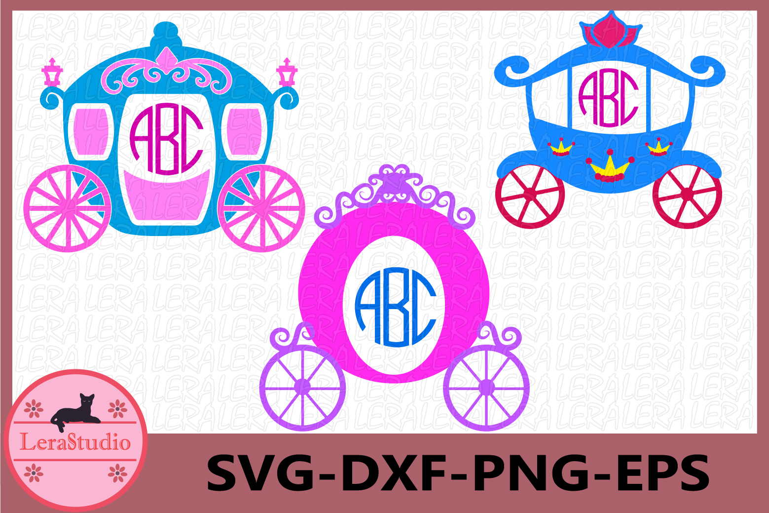 Princess Carriage SVG, Princess Cut Files svg, Monogram example image 1