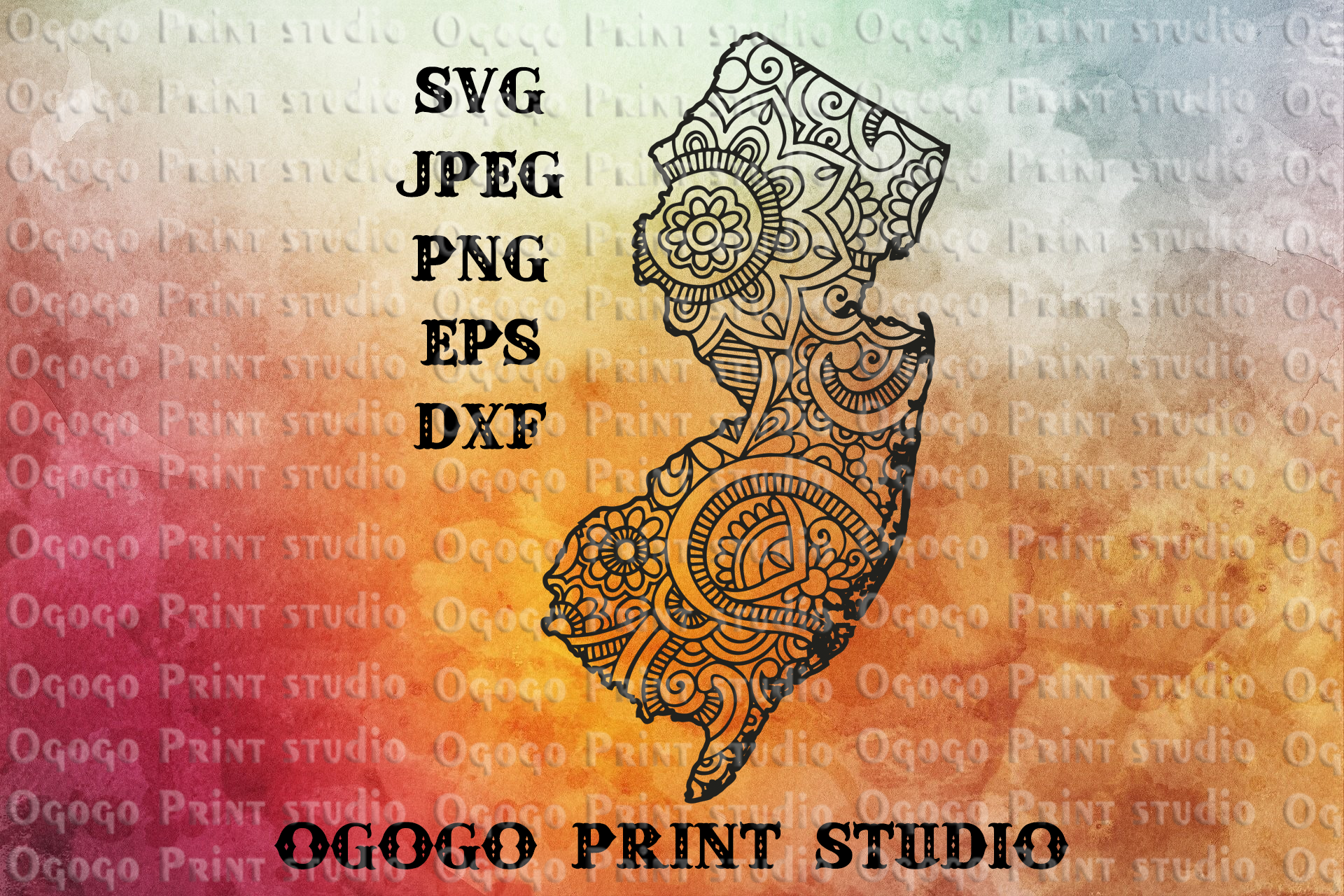 New Jersey SVG, Map Zentangle SVG, Mandala svg, Travel svg example image 1
