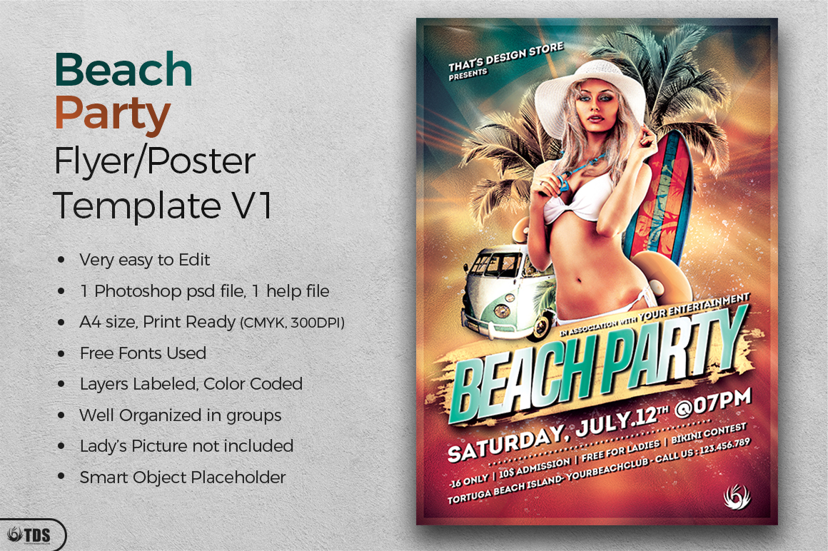 Beach Party Flyer Template V1 example image 2