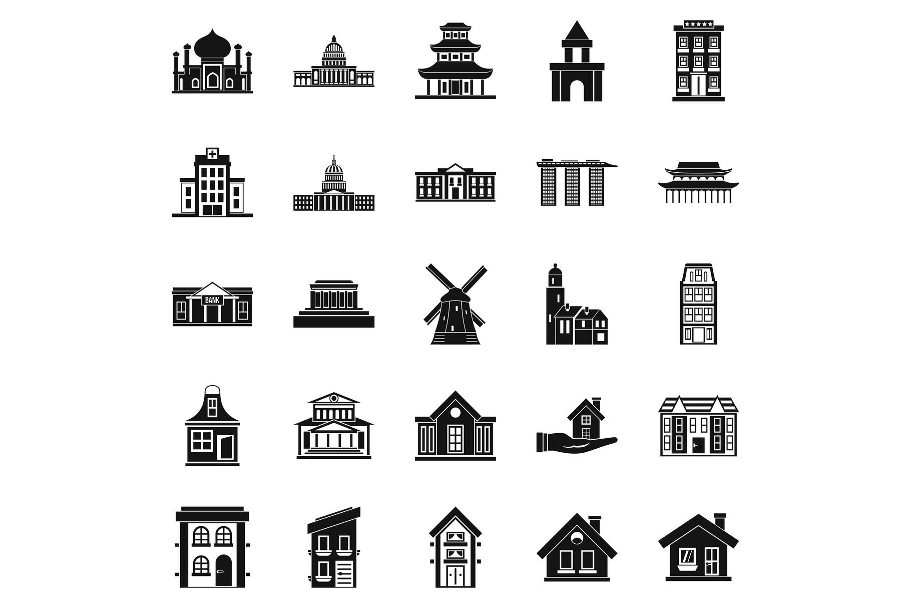 Building site icons set, simple style example image 1