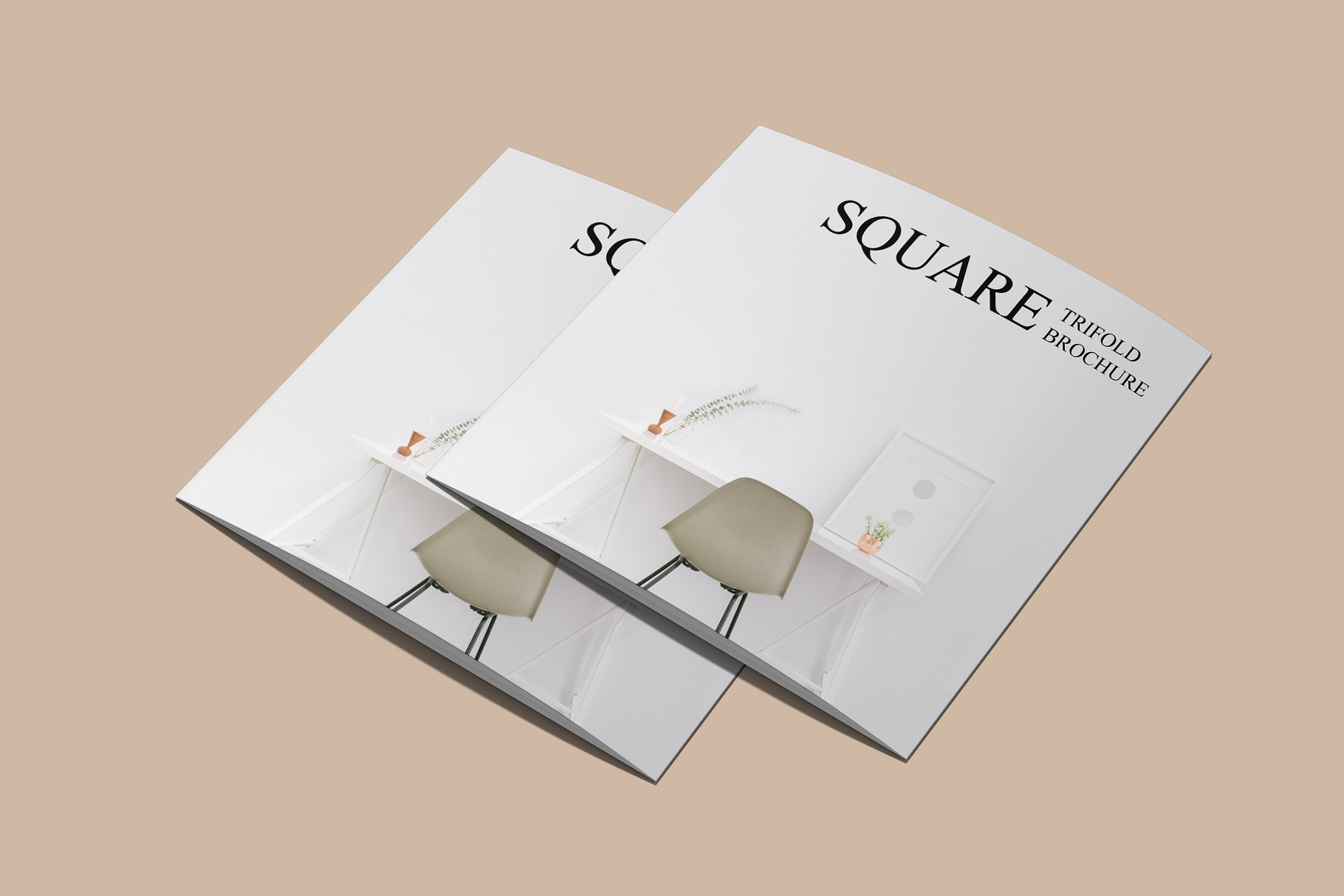 Square Trifold Brochure Mockup example image 12