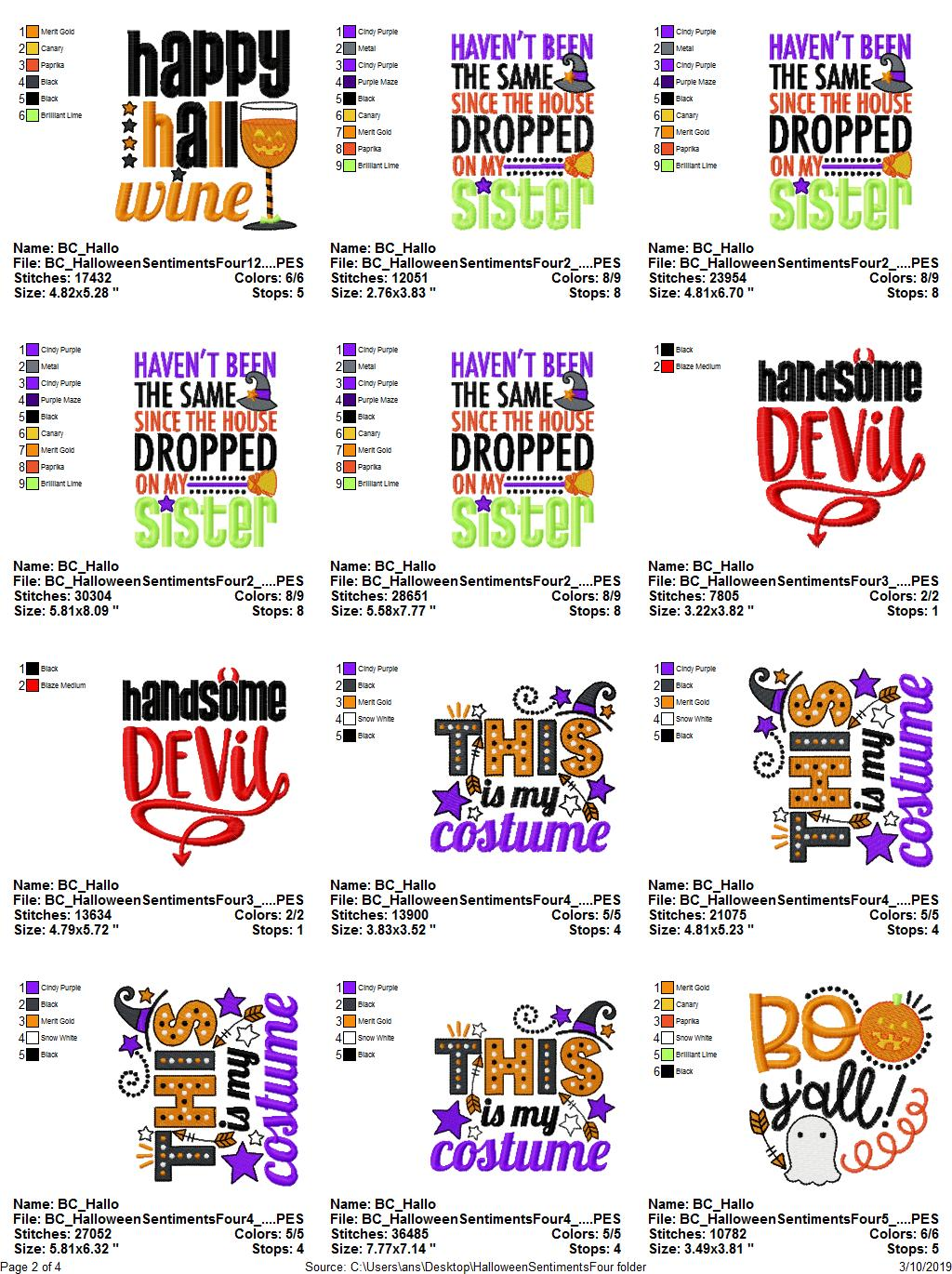 Halloween Sentiments Four - 12 Machine Embroidery Designs example image 15