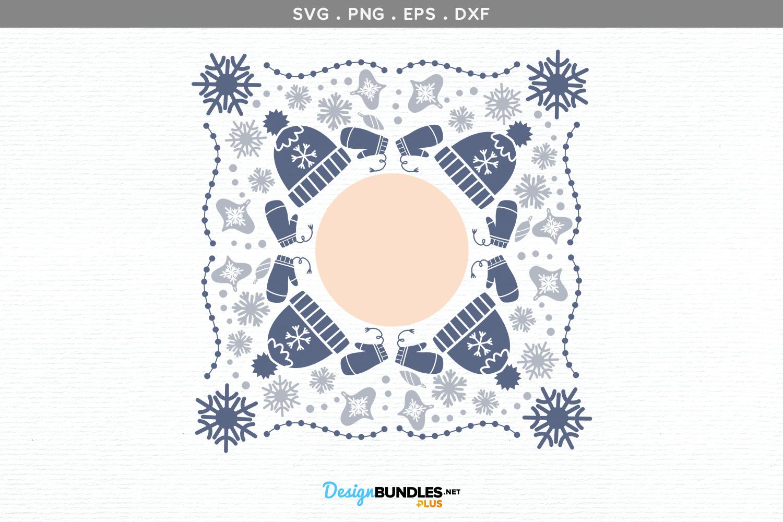 Snowflakes Monogram Frame- svg, printable example image 2