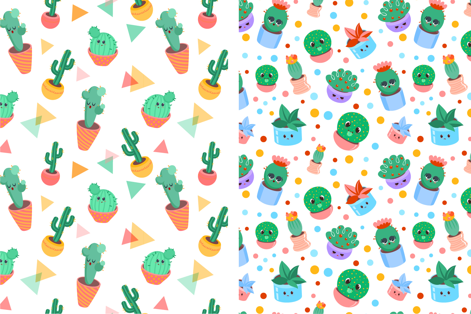 4 Cacti seamless vector patterns example image 2