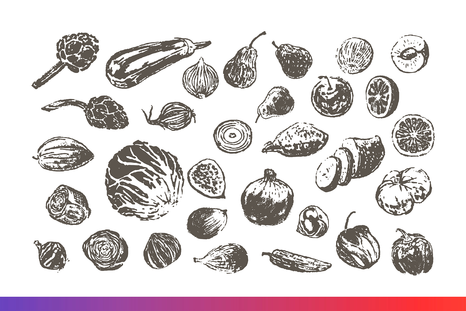 Fruits and Veggies Ink Drawings example image 4