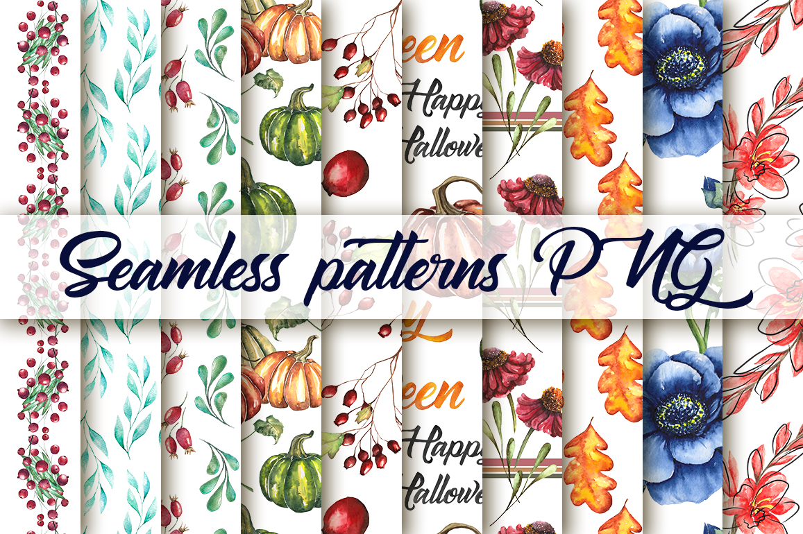 Watercolor collection of 20 autumn seamless patterns example image 3