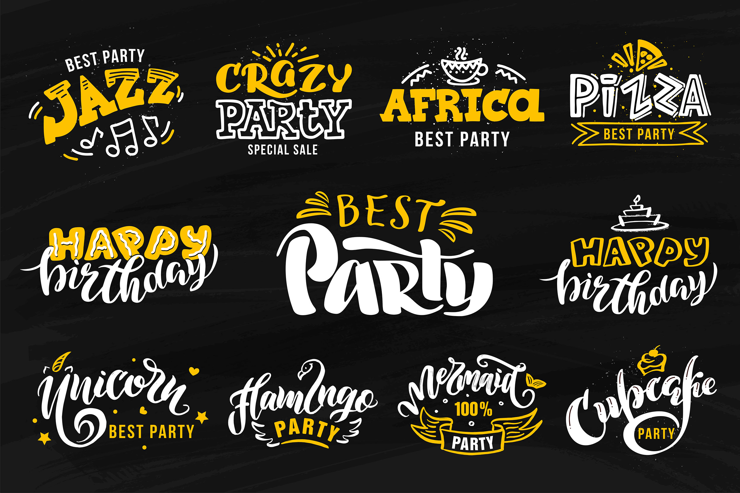 Party lettering, logos set example image 2