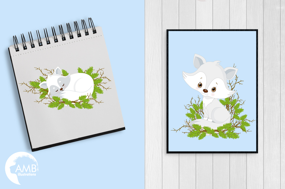 Winter Foxes cliparts, graphics, illustrations AMB-2298 example image 4