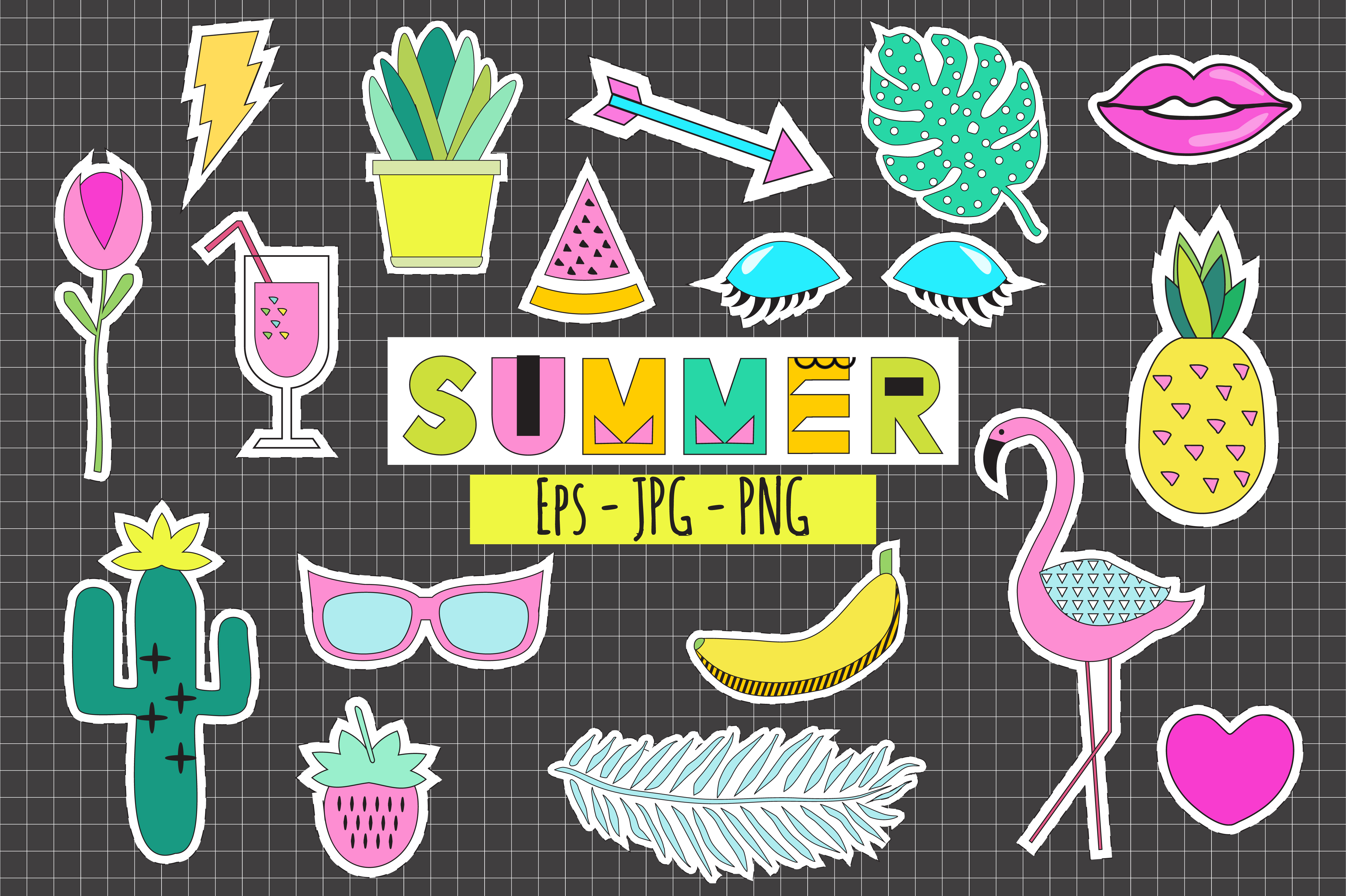 Summer Stickers Vector+ Png example image 1