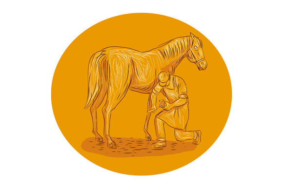 Farrier Placing Shoe on Horse Hoof Circle Drawing example image 1
