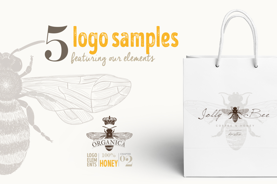 ORGANIC LOGO ELEMENTS  HONEY example image 8