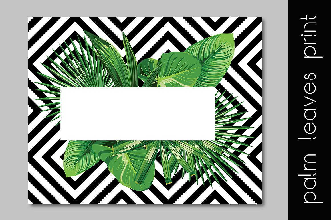 Realistic palm leaves pattern on the geometric background example image 2