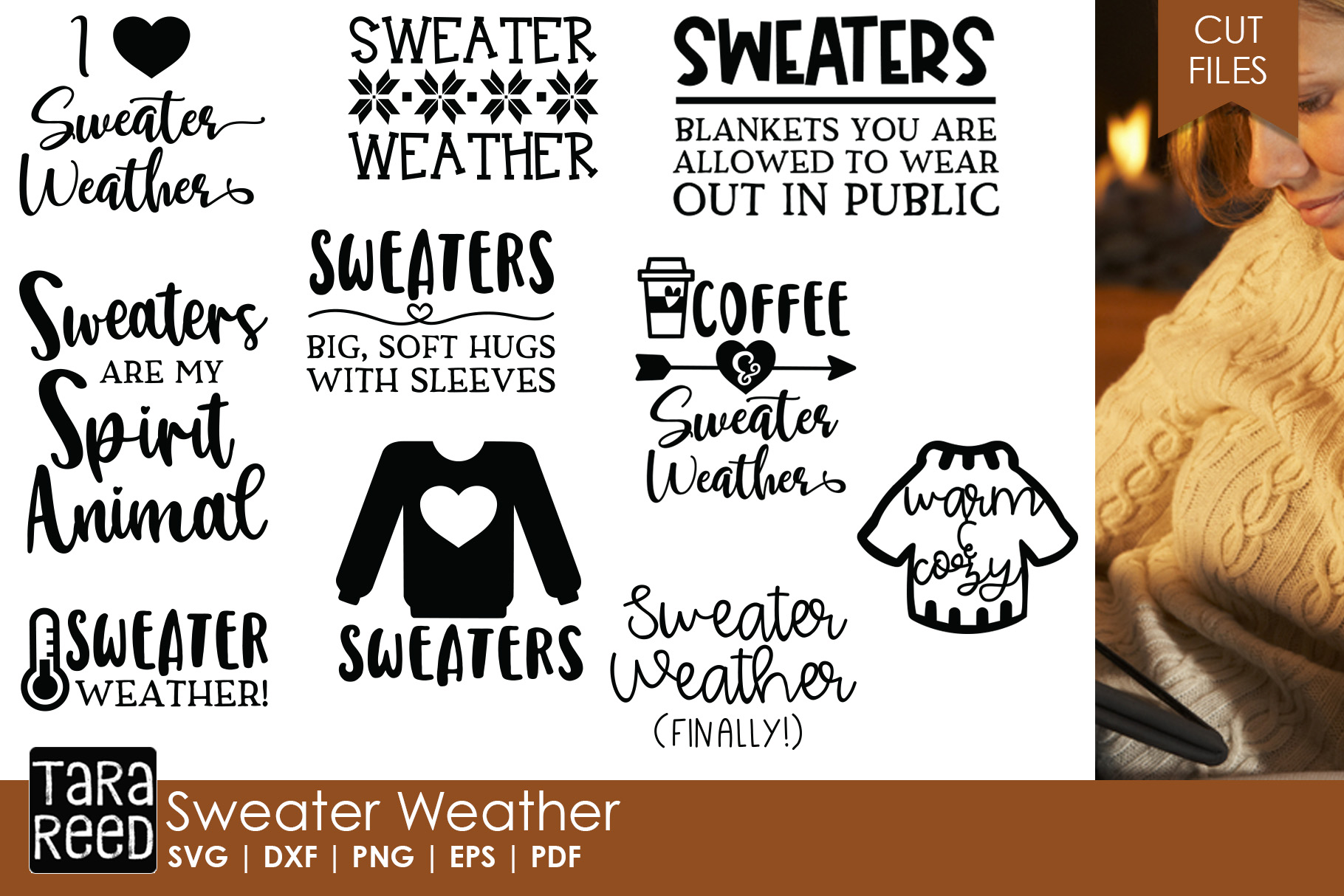 Sweater Weather - Winter SVG and Cut Files for Crafters example image 1