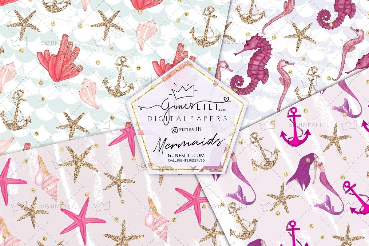 Pink Mermaids Digital Paper Seamless Pattern example image 4