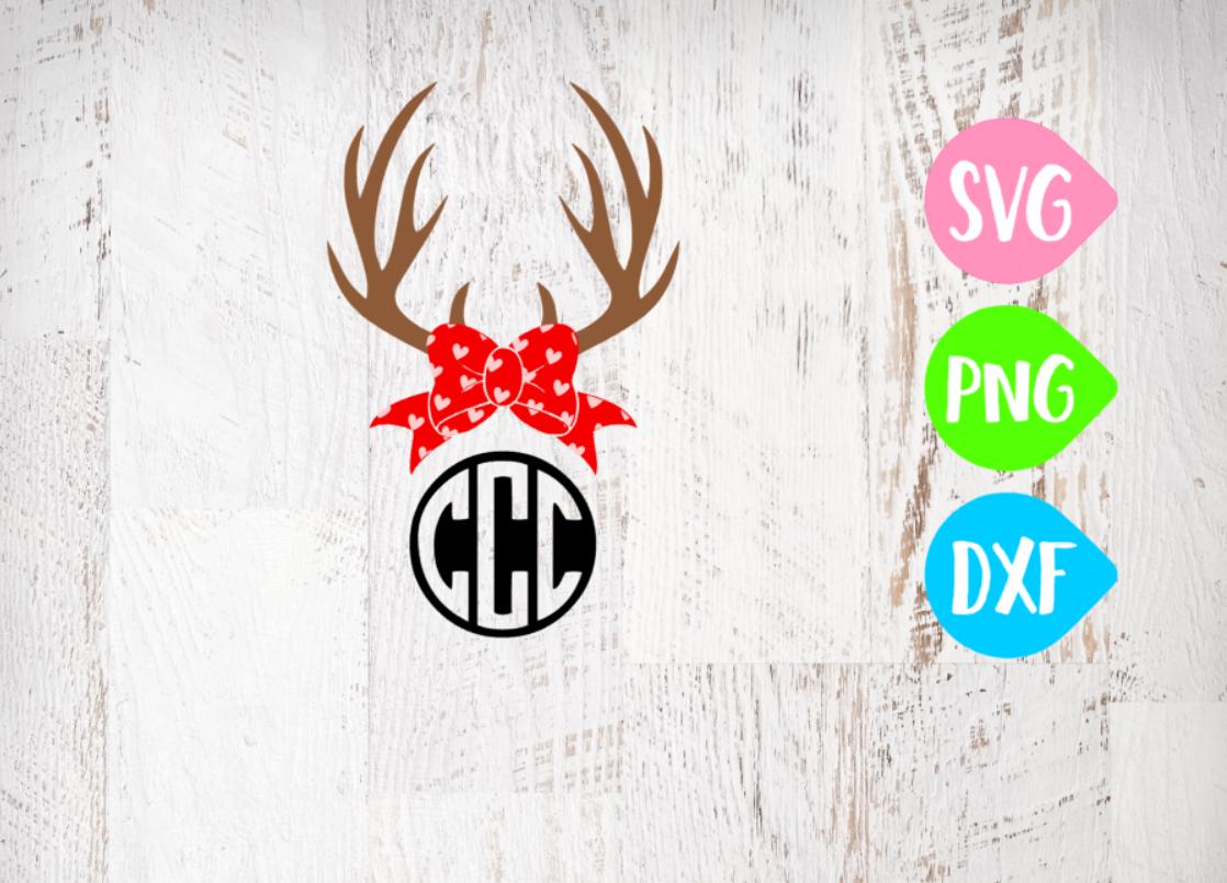 Antler Svg, Valentines Svg, Valentine Antlers, Valentine Bow, Holiday Bow example image 1