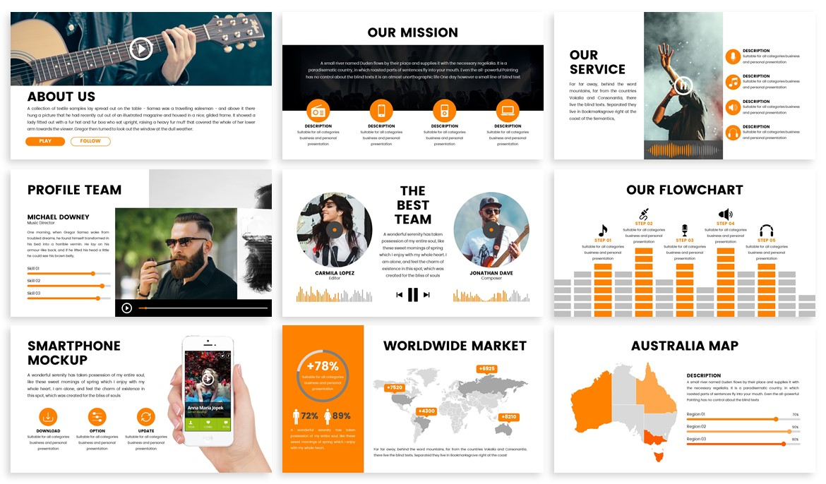 Stream - Music Powerpoint Template example image 5