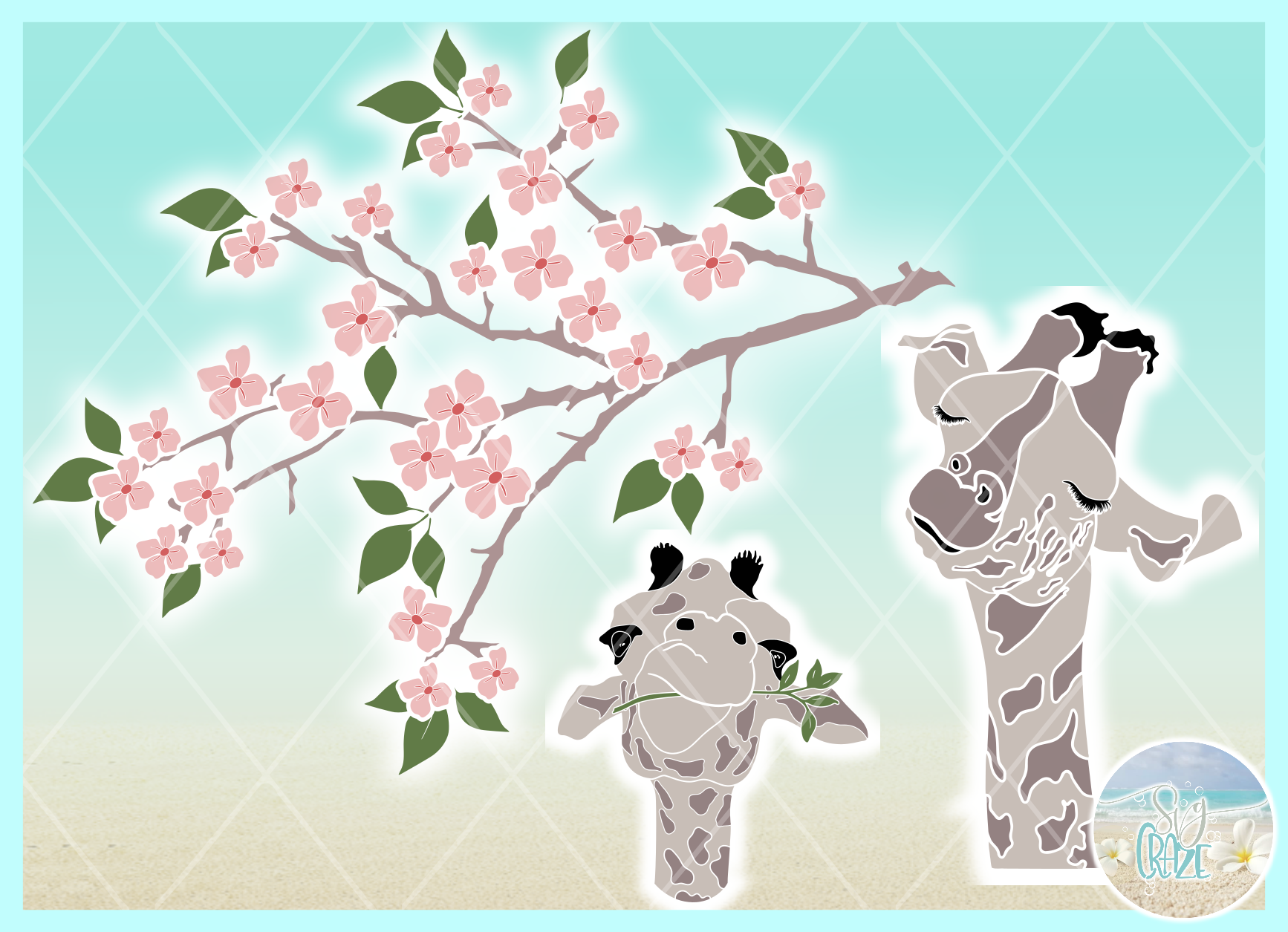 Cute Giraffe Faces with Flowering Tree Limb Svg Dxf Eps Png example image 2