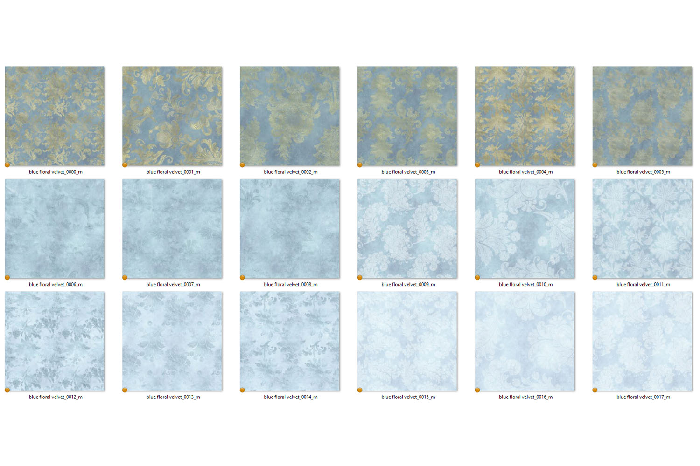 Blue Floral Velvet Digital Paper example image 4