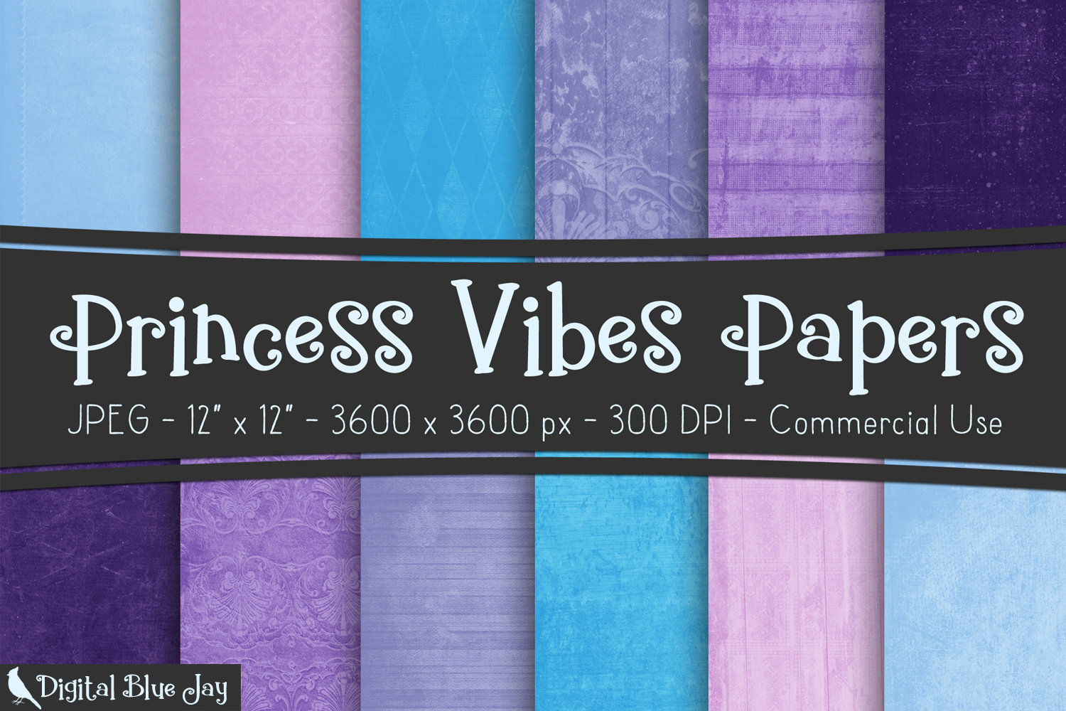 12 Digital Paper Textured Backgrounds - Princess Vibes example image 1