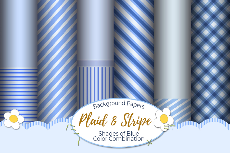 54 Plaid,Stripe & Dots on Blue Shades JPG Background Papers example image 13