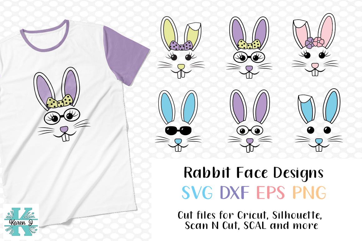 Easter Bunny Face Bundle- SVG DXF EPS PNG for crafters example image 1