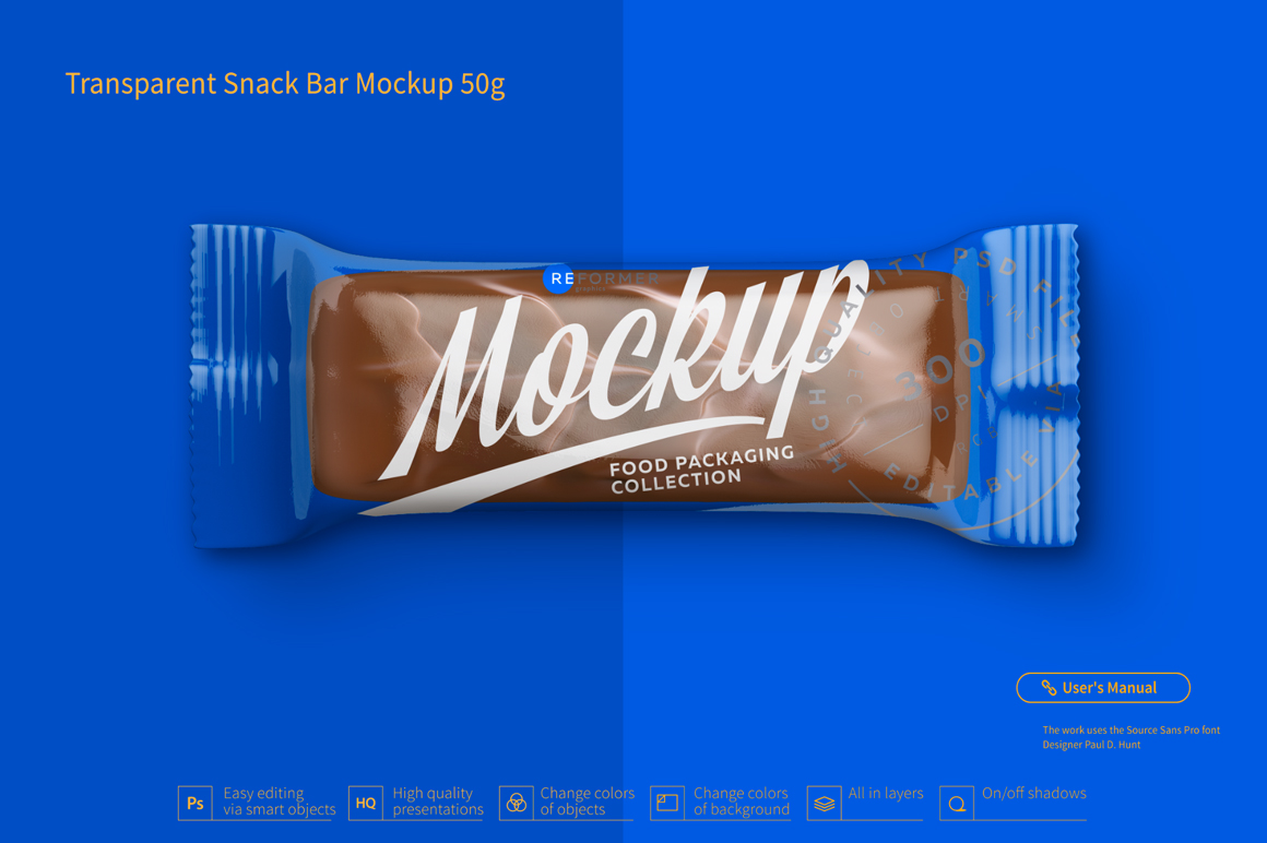 Transparent Chocolate Bar Mockup 50g example image 4