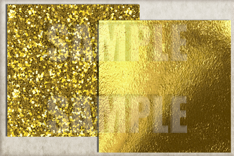 Gold Foil and Glitter Digital Paper, Gold foil Background example image 3
