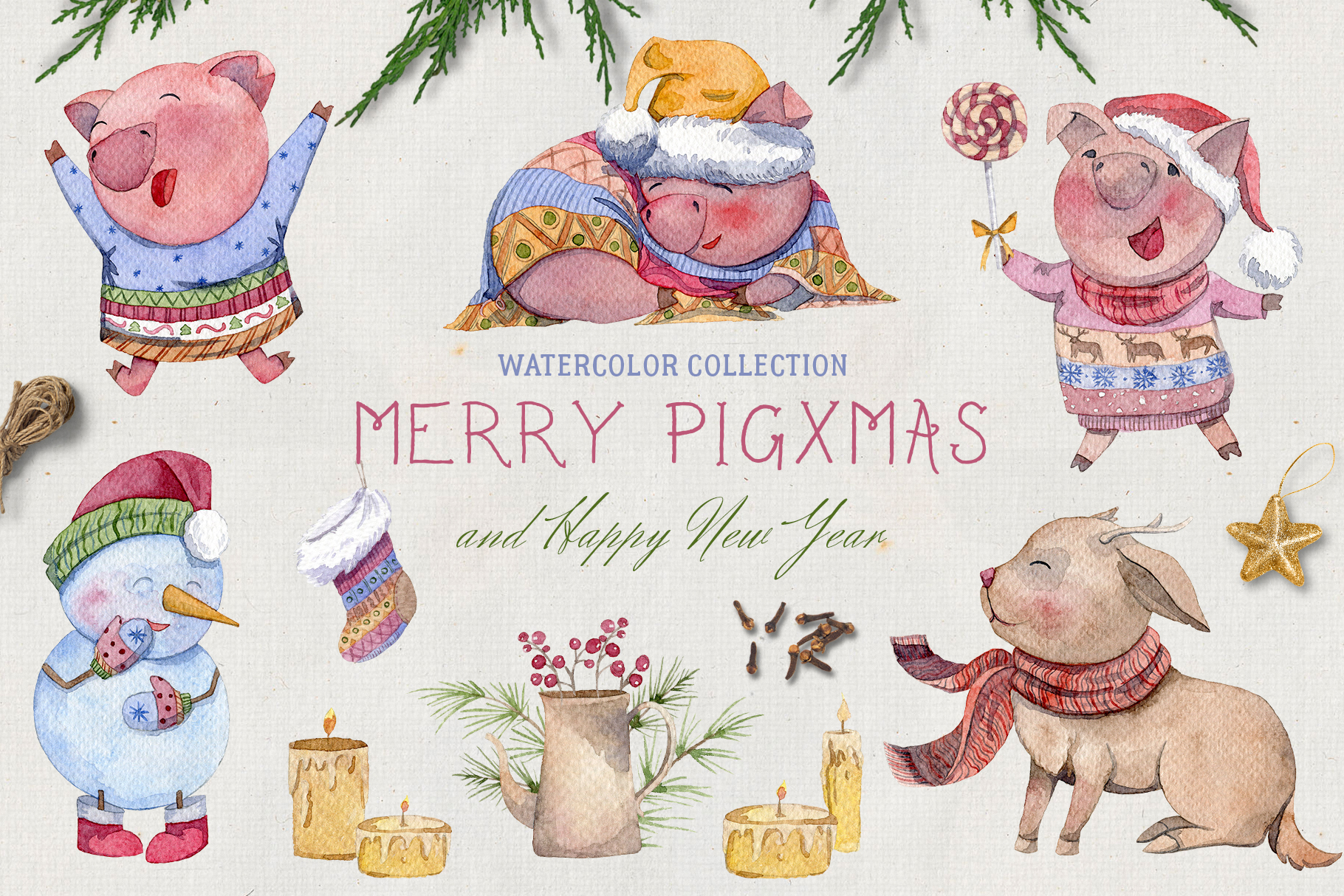 Merry pigsmas. Watercolor collection example image 1