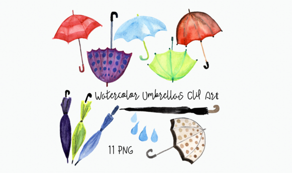 Watercolor Umbrellas Clip Art example image 2