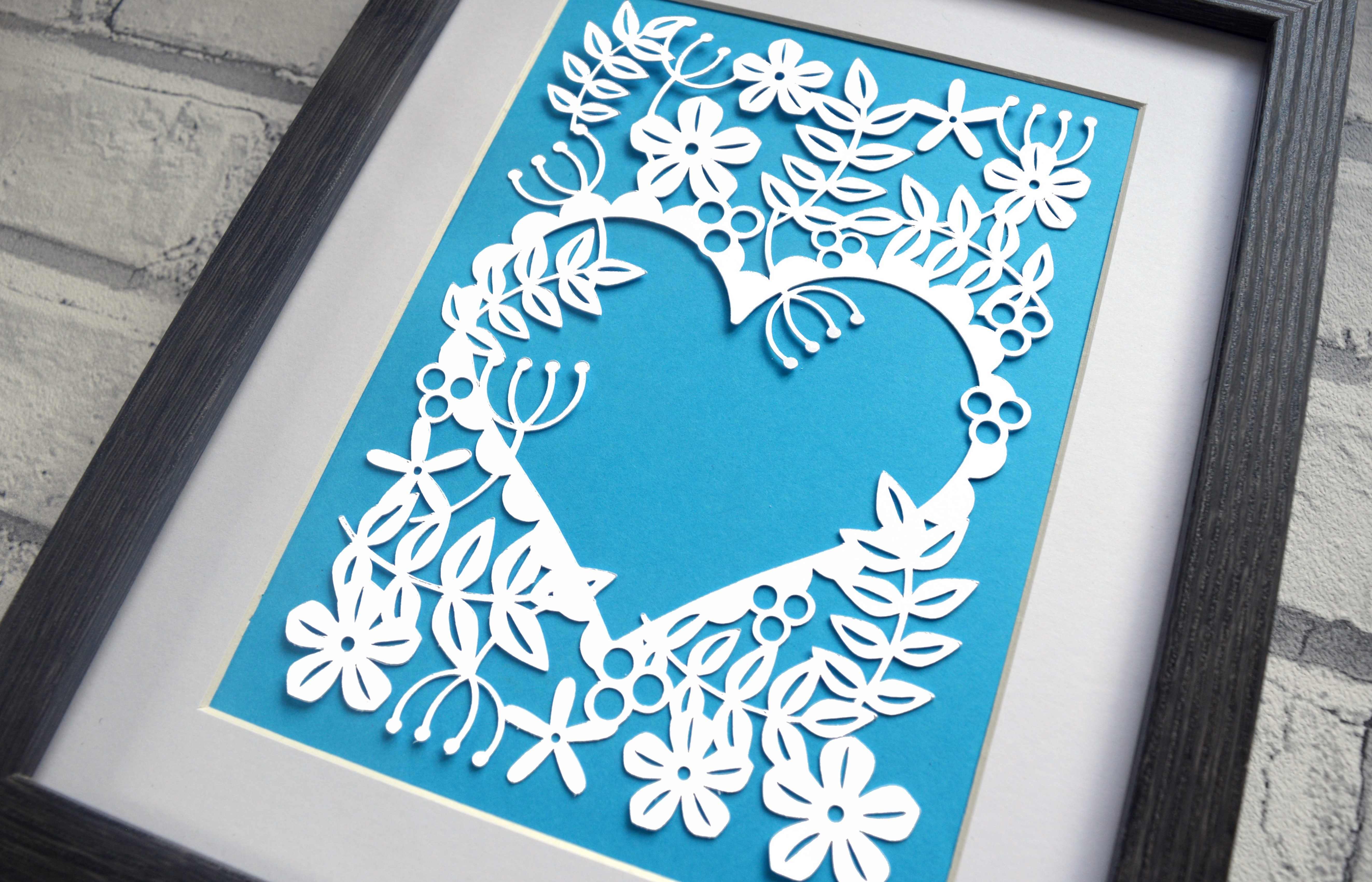 Heart Of Flowers Paper Cut SVG / DXF / EPS File example image 1