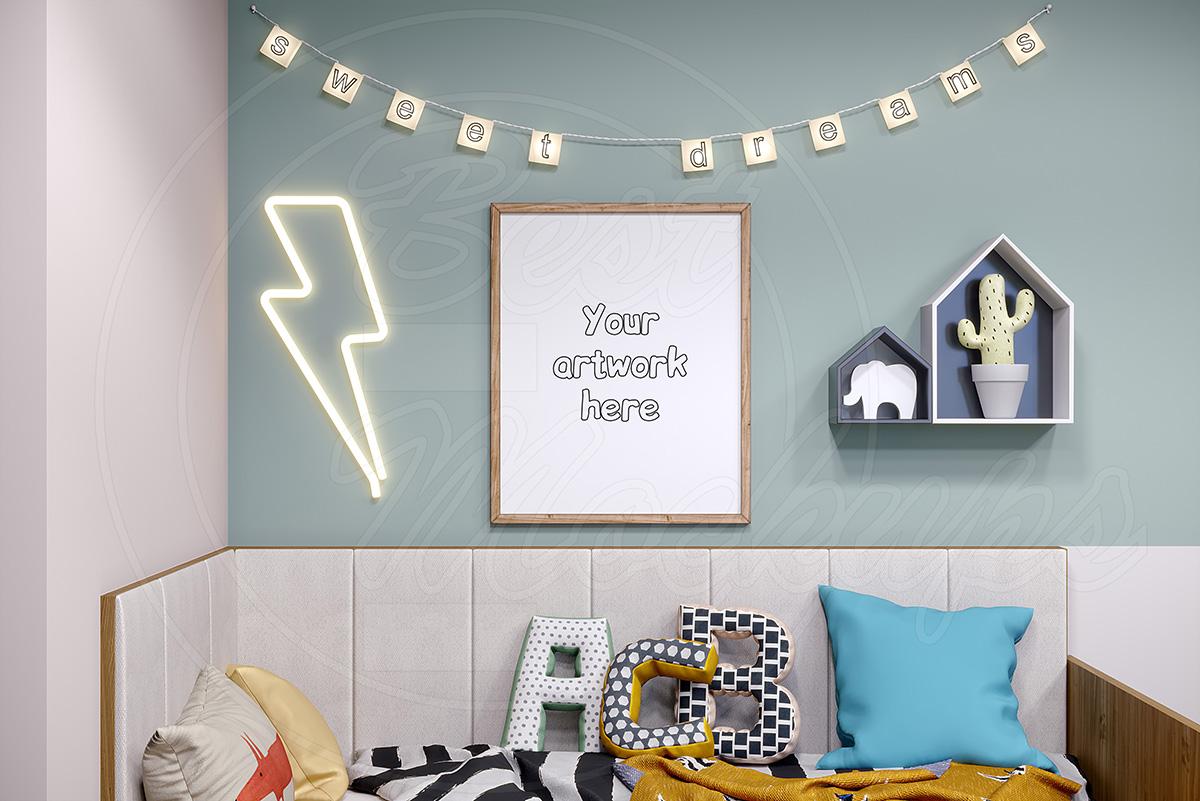 Kids room mockup frame styled stock example image 1