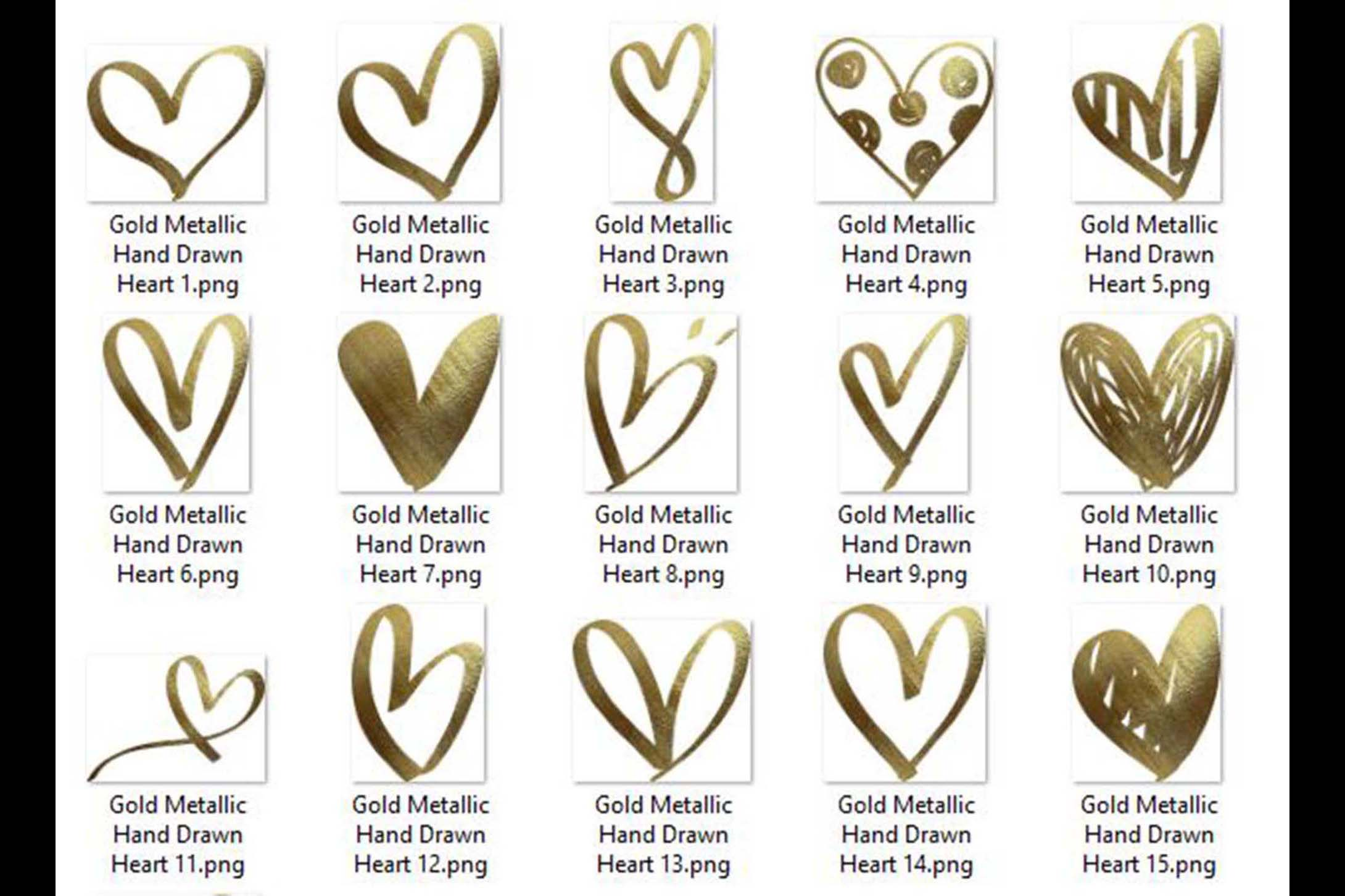 30 Realistic 24k Gold Metallic Hand Drawn Heart Clip Arts example image 5