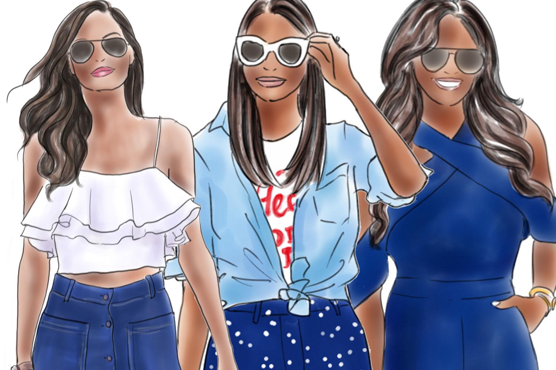 Fashion illustration clipart - Girls in Blue - Dark skin example image 3