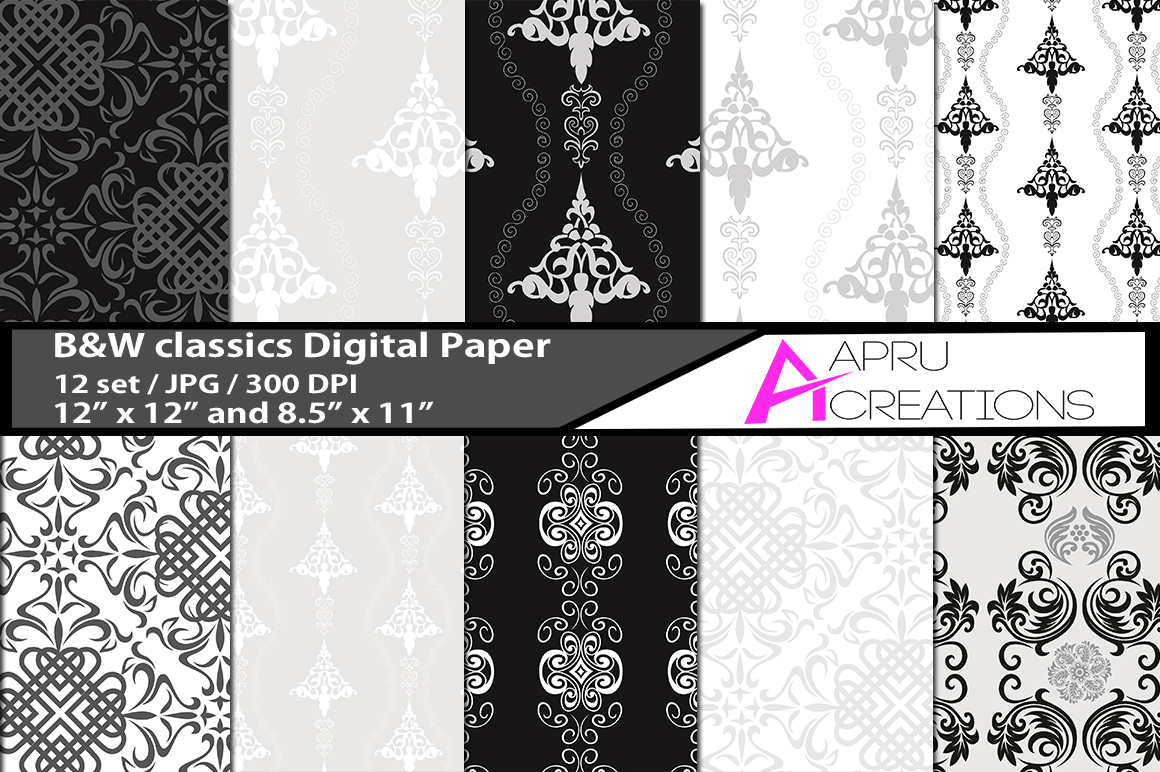 B&W classic  digital papers, B&W classic pattern, digital papers, high quality 300 dpi, 12 x 12 inch , and 8.5 x 11 inch example image 1
