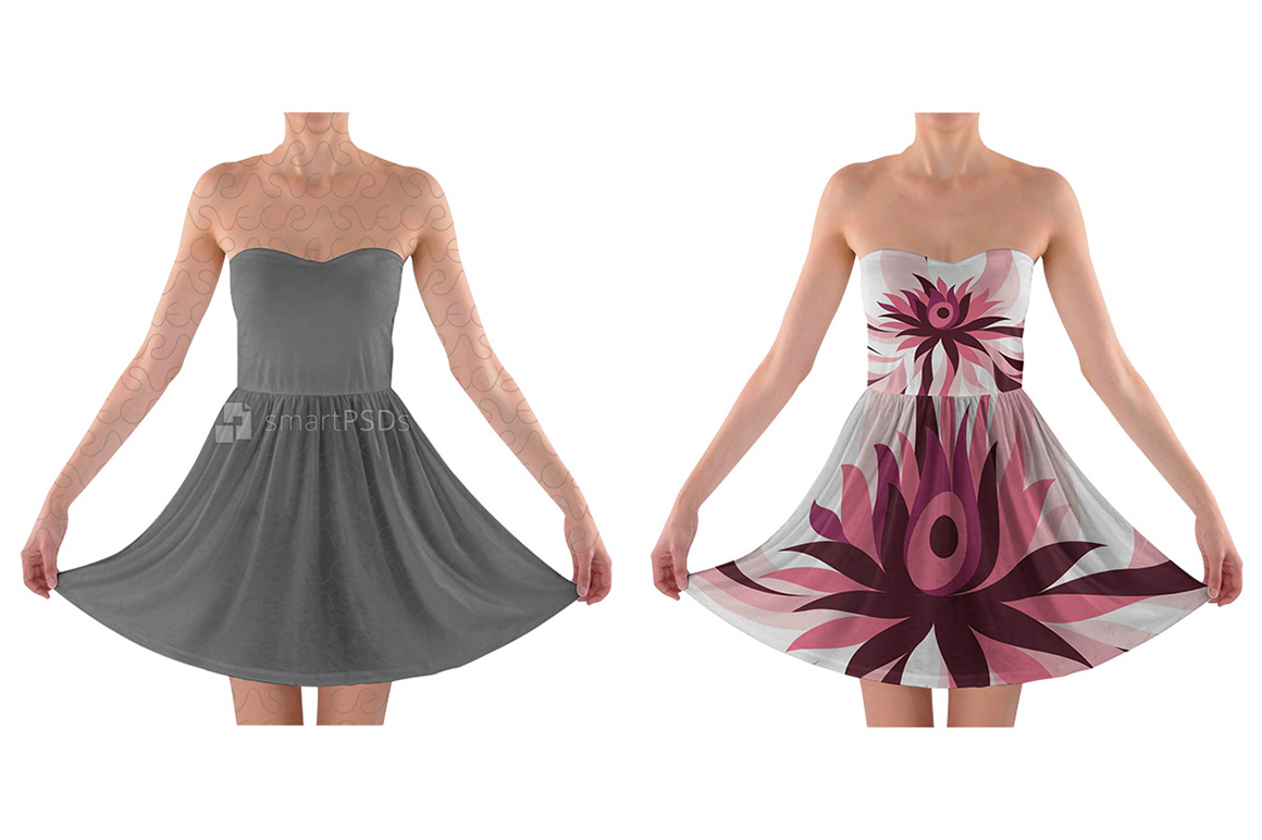 Strapless Bra Top Dress Design Mockup for Sublimation Printing - 2 Views example image 1