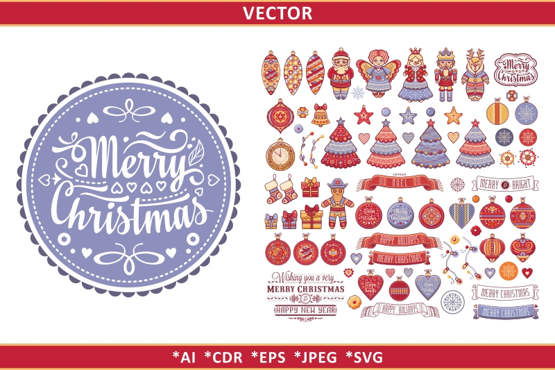 Christmas decor and lettering greeting card. example image 1