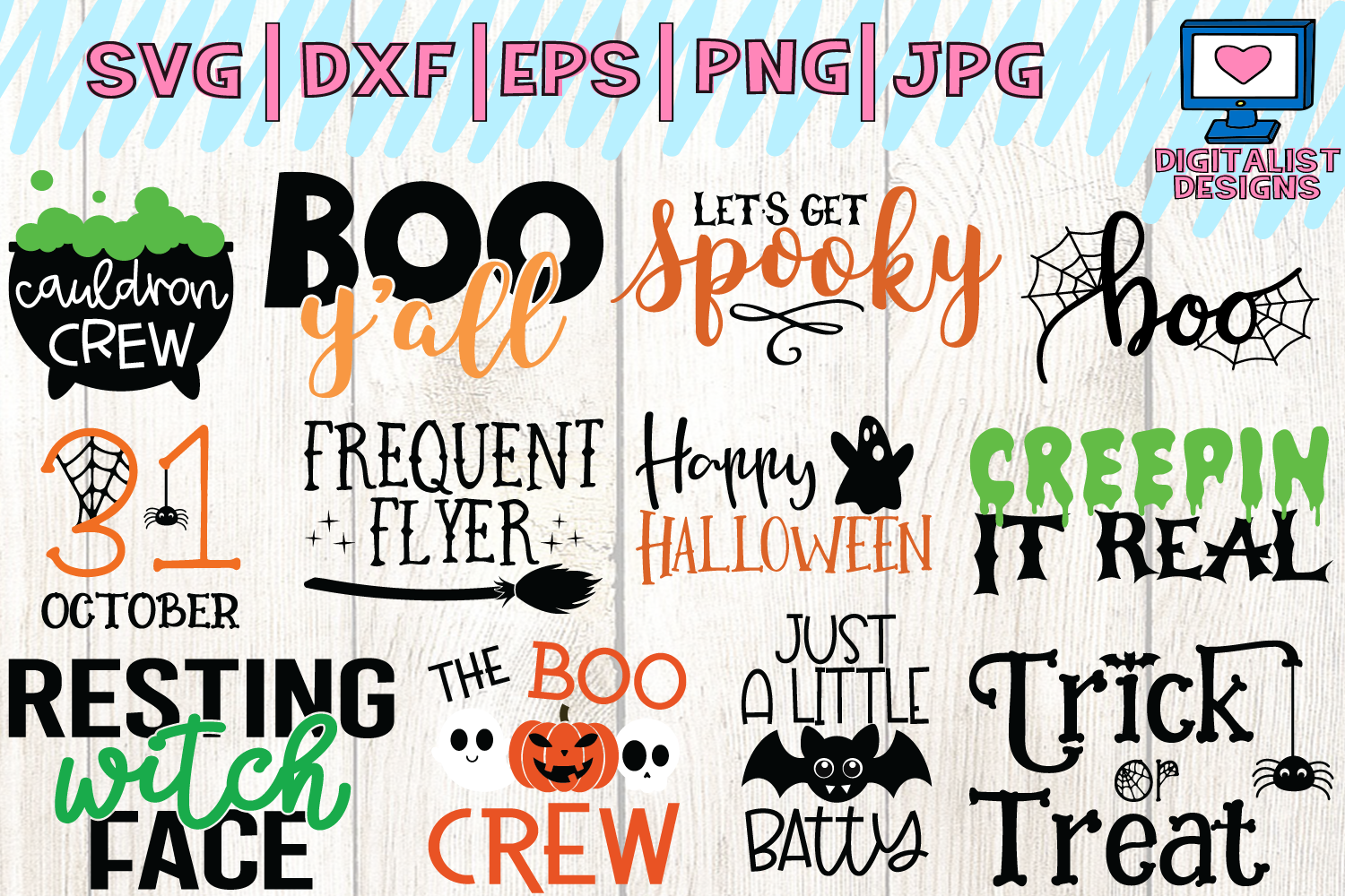 Halloween bundle svg, fall, october, witch, png, dxf example image 2